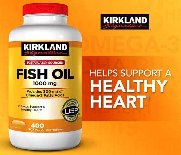vien uong dau ca kirkland fish oil 400 vien 1000mg  hu